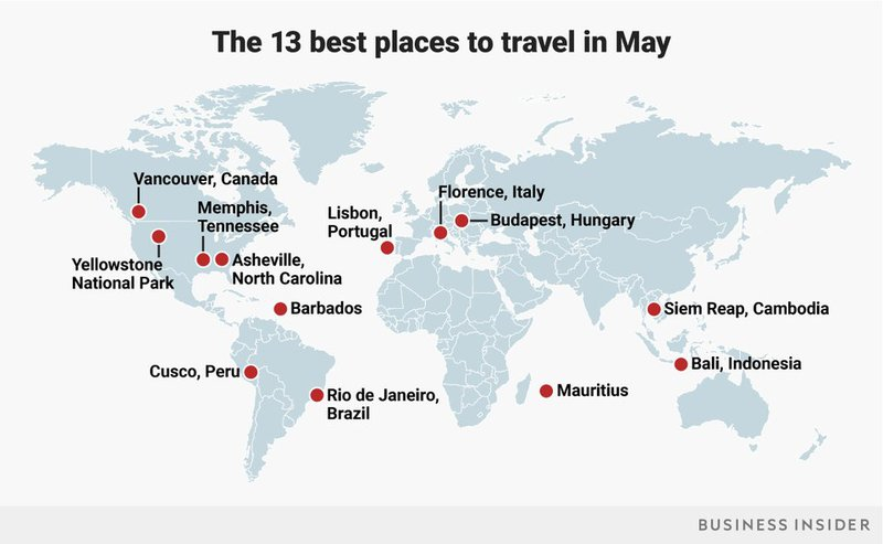 best places to visit in may